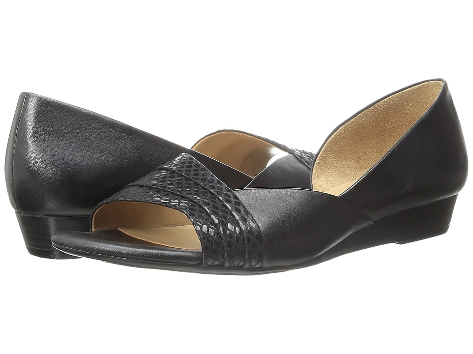Naturalizer - Jenah (Black Smooth/Glossy Printed Snake) Women's Wedge Shoes