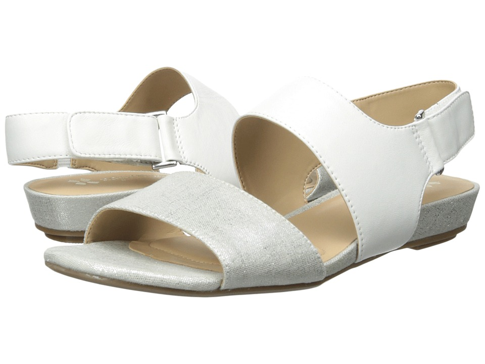 Naturalizer - Lanna (White Leather/Silver Metallic Linen) Women's Sling Back Shoes
