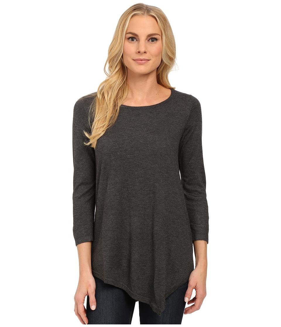 NYDJ - Leann Asymmetric Hem Sweater (Charcoal) Women's Sweater