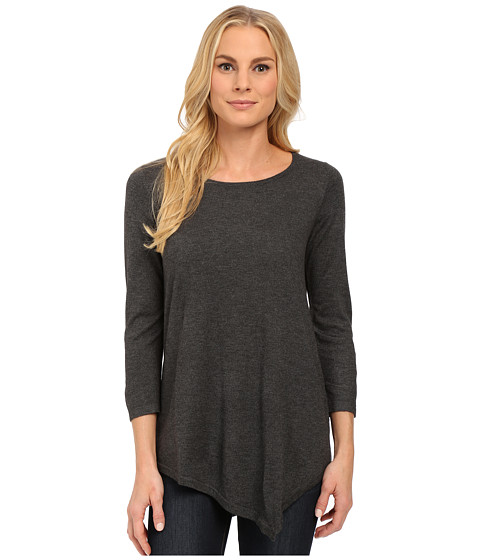 NYDJ - Leann Asymmetric Hem Sweater (Charcoal) Women's Sweater