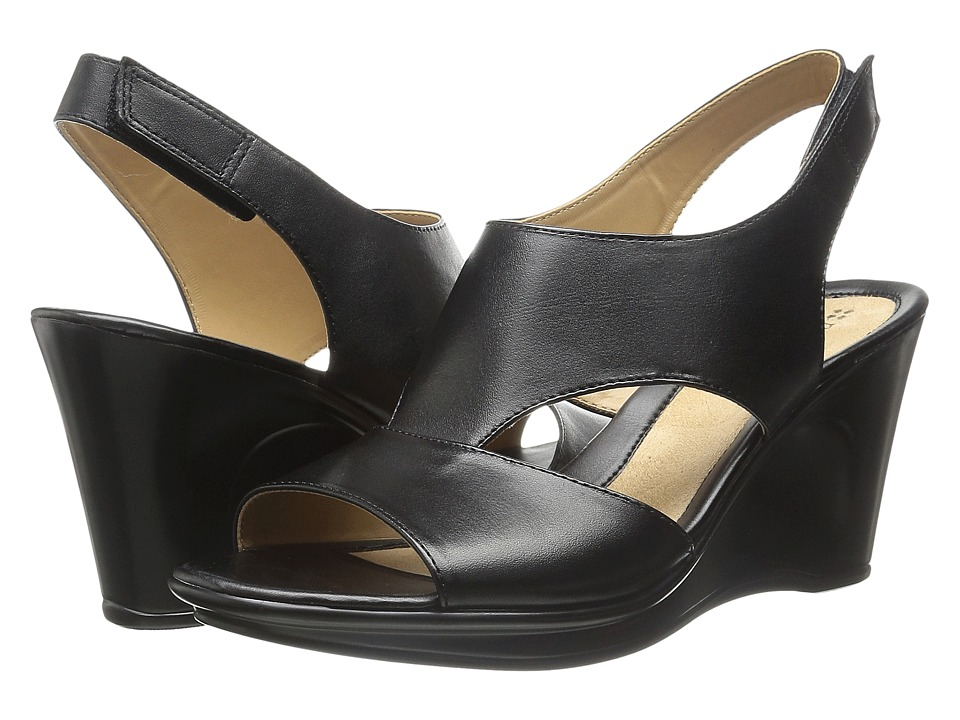 Naturalizer - Orrin (Black Leather) Women's Wedge Shoes