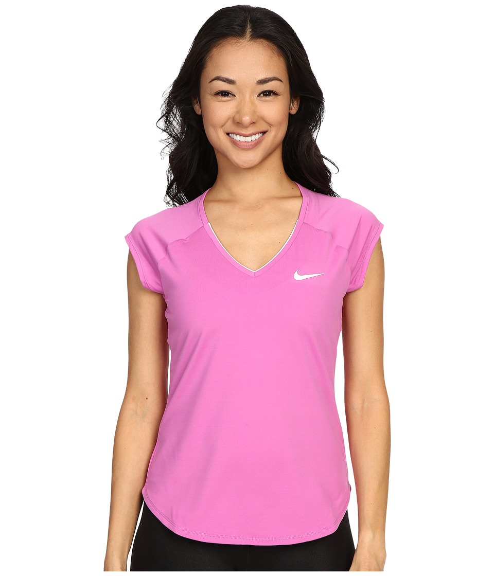 Nike - Court Pure Tennis Top (Viola/White) Women's Short Sleeve Pullover