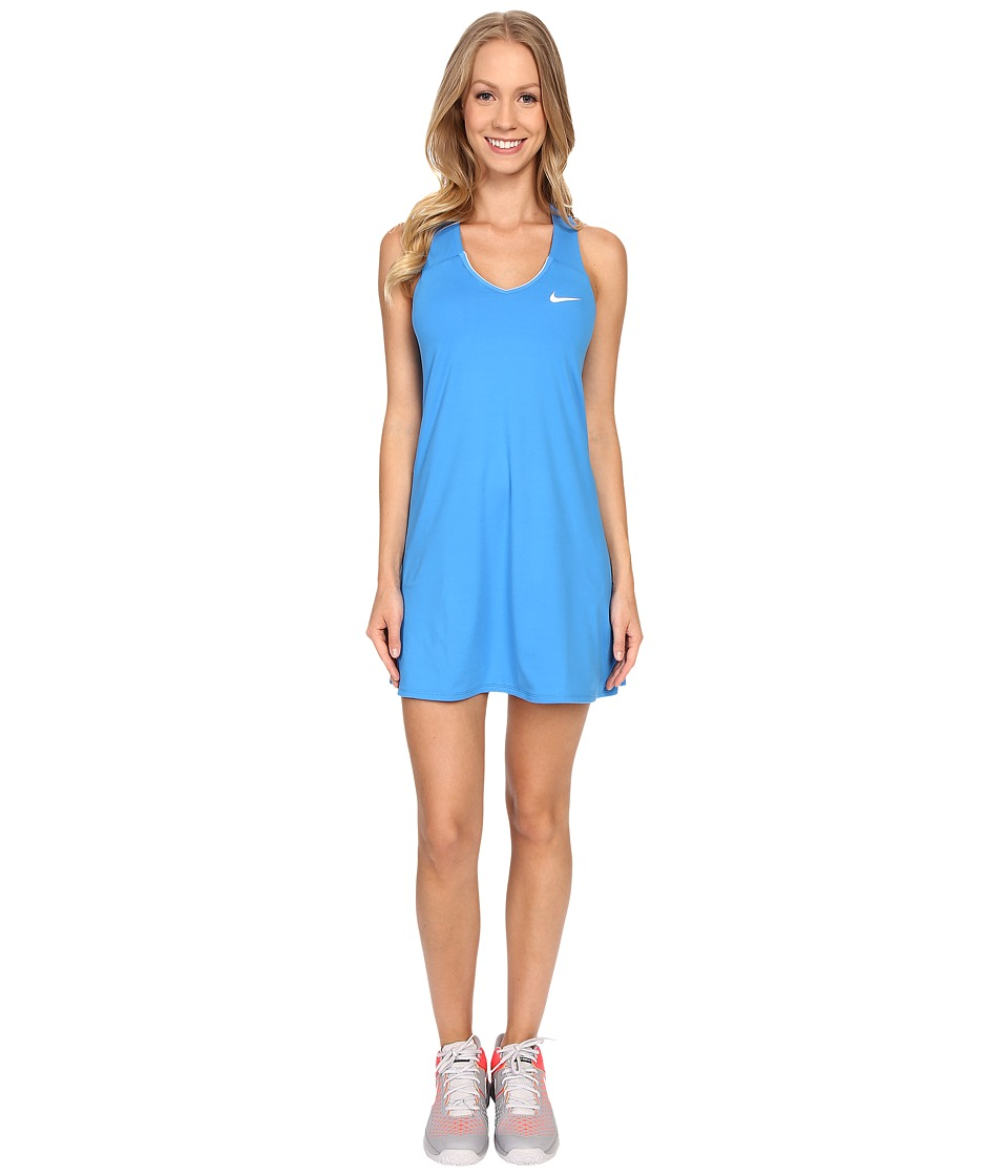 Nike - Court Pure Tennis Dress (Light Photo Blue/White) Women's Dress