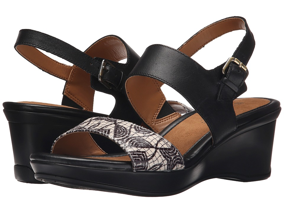 Naturalizer - Vibrant (Black Leather/Black/White Geo Glossy Printed Snake) Women's Sling Back Shoes