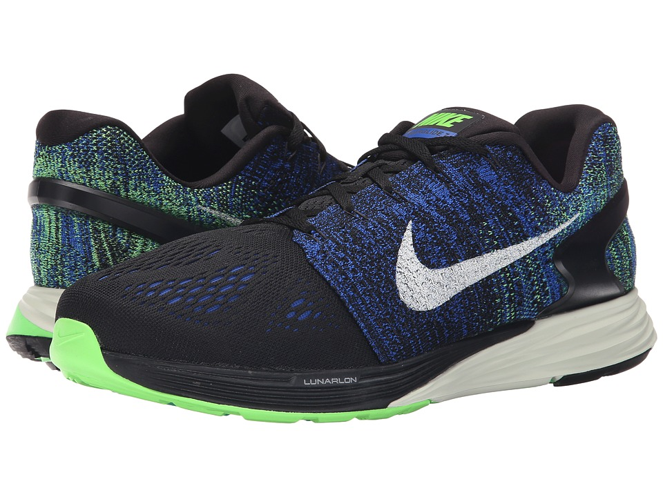 Nike - Lunarglide 7 (Black/Racer Blue/Voltage Green/Sail) Men's Running Shoes