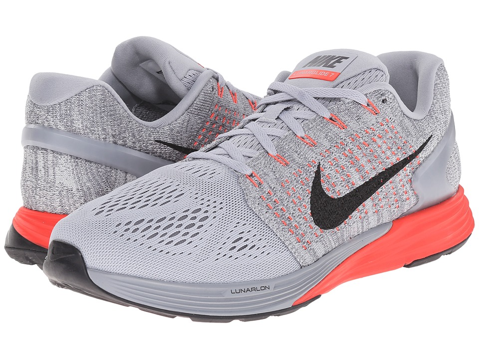 Nike - Lunarglide 7 (Wolf Grey/Bright Crimson/Cool Grey/Black) Men's Running Shoes