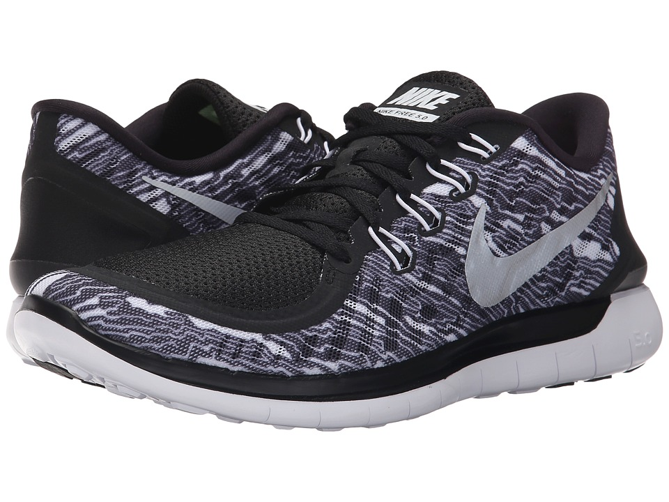 Nike - Free 5.0 Print (Black/White/White) Men's Running Shoes