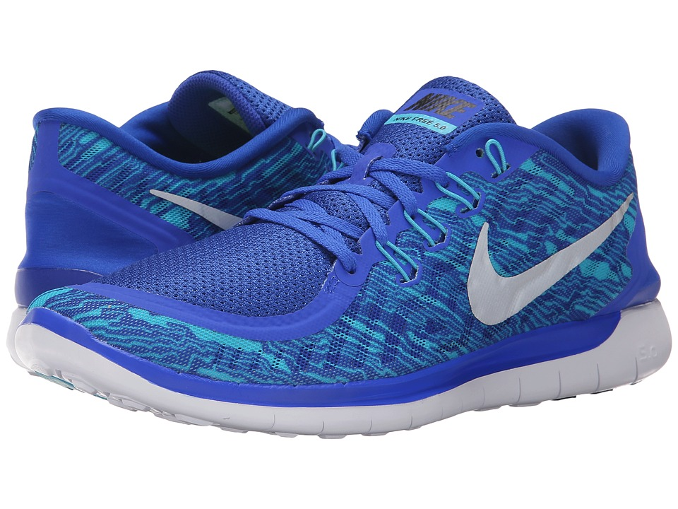 Nike - Free 5.0 Print (Racer Blue/Gamma Blue/White/Reflective Silver) Men's Running Shoes