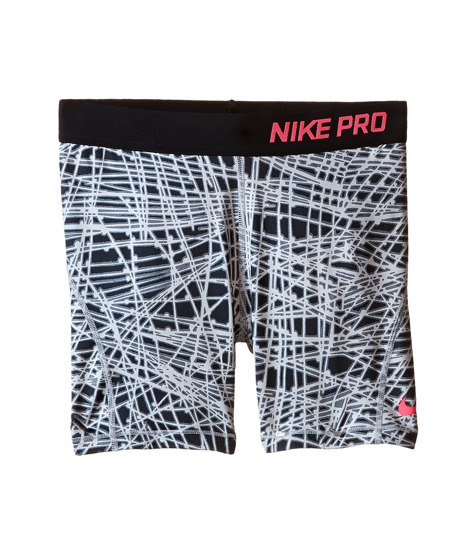 Nike Kids - Pro Hypercool Allover Print Short (Little Kids/Big Kids) (Wolf Grey/Black/Hyper Pink) Girl's Shorts