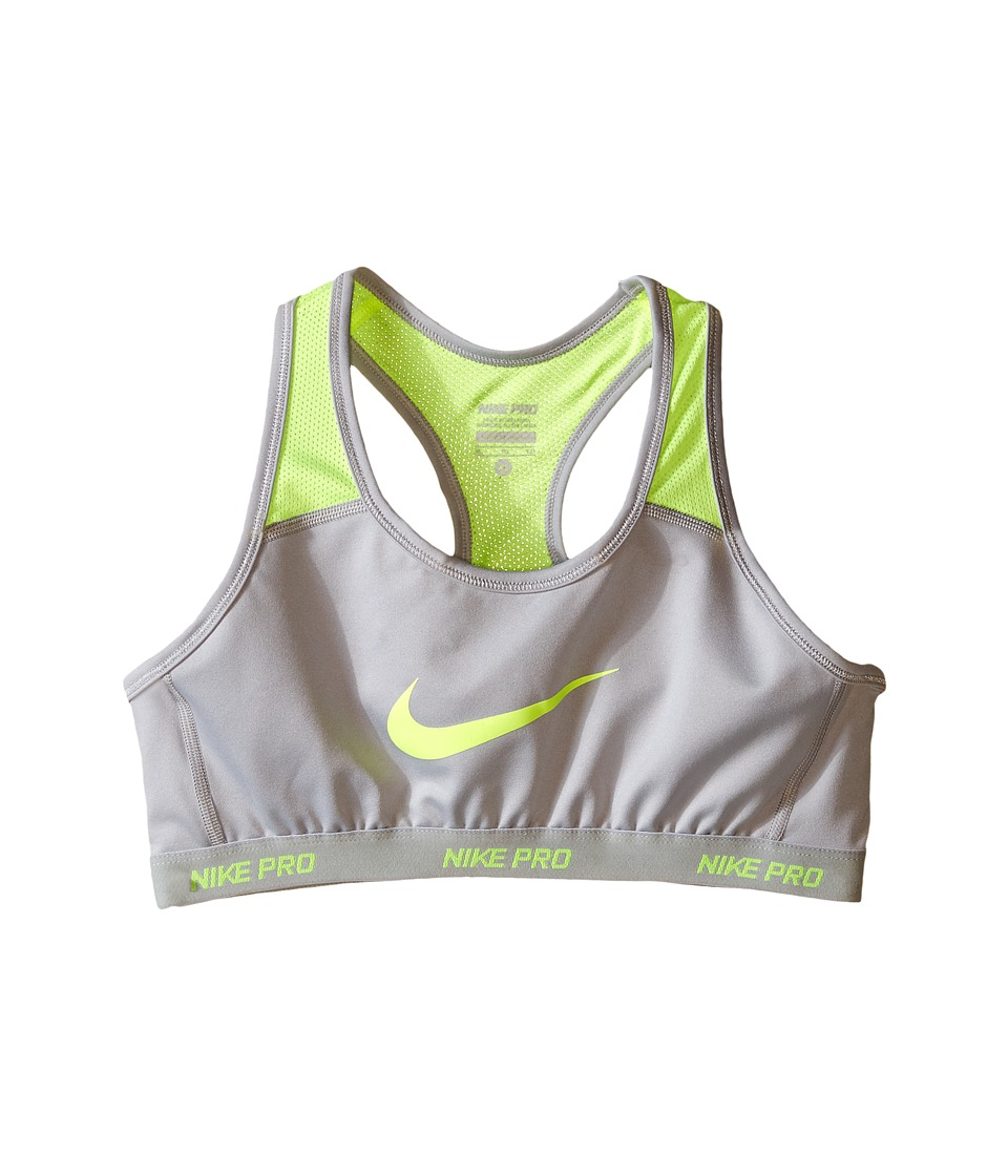 Nike Kids - Pro Hypercool Sports Bra (Little Kids/Big Kids) (Wolf Grey/Volt/Wolf Grey/Volt) Girl's Bra