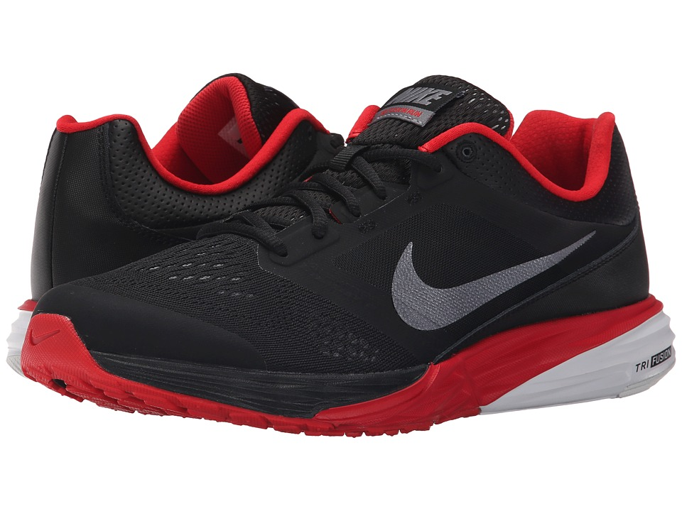 Nike - Tri Fusion Run (Black/University Red/White/Metallic Cool Grey) Men's Running Shoes