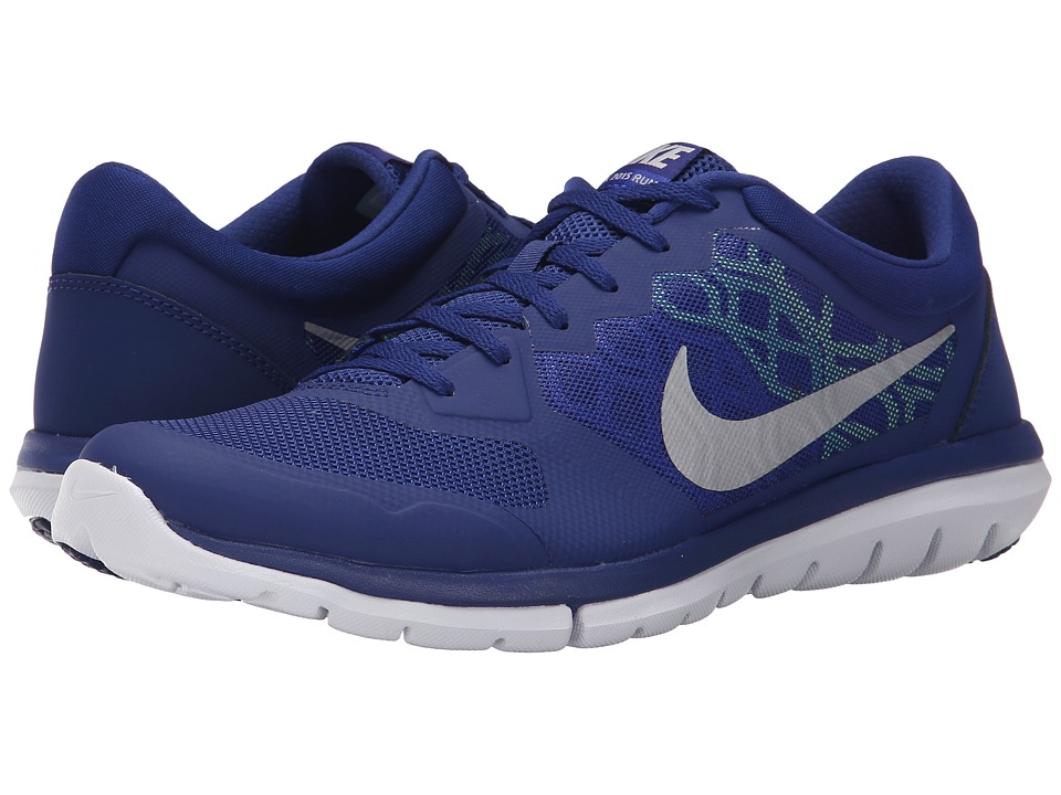 Nike - Flex 2015 RUN (Deep Royal Blue/Volt/Voltage Green/Metallic Silver) Men's Running Shoes