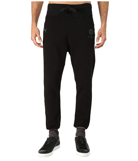 PUMA - BVB T7 Cuffed Pants (Black/Ebony/Cyber Yellow) Men