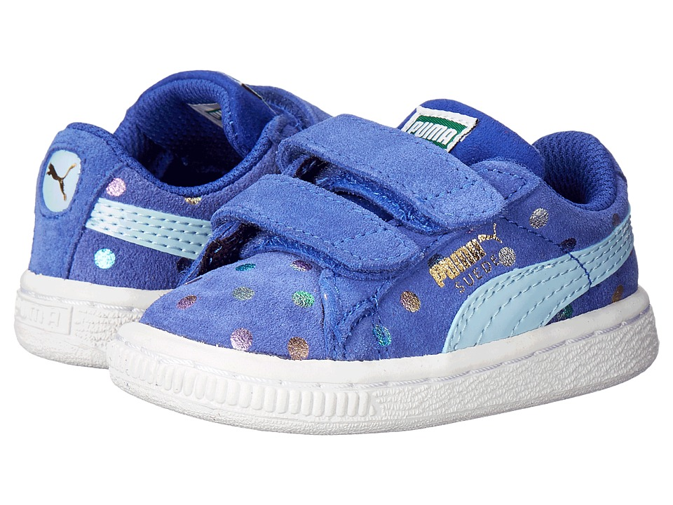 Puma Kids - Suede Dotfetti V (Toddler/Little Kid/Big Kid) (Dazzling Blue/Cool Blue) Girls Shoes