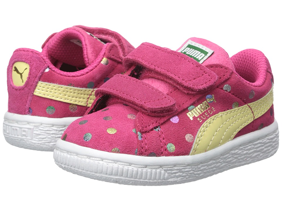 Puma Kids - Suede Dotfetti V (Toddler/Little Kid/Big Kid) (Rose Red/Mellow Yellow) Girls Shoes