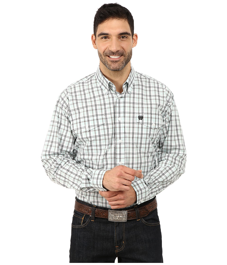 Cinch - L/S Double Weave Plaid (White 4) Men's Long Sleeve Button Up
