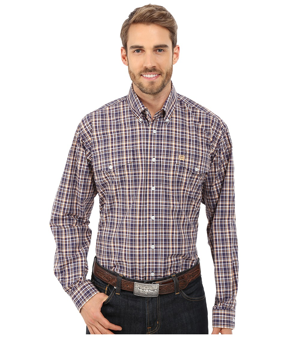 Cinch - L/S Double Weave Plaid (Navy) Men's Long Sleeve Button Up