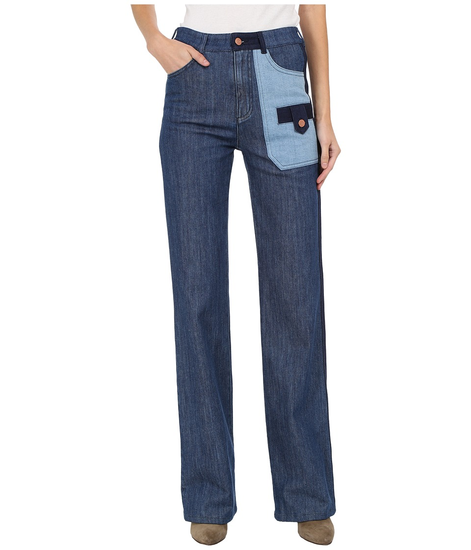 See by Chloe - Denim Patch Trousers (Blue) Women's Jeans