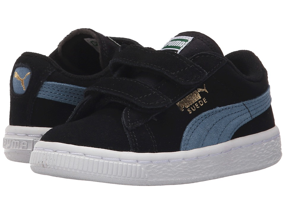 Puma Kids - Suede 2 Straps (Toddler/Little Kid/Big Kid) (Black/Blue Heaven) Kids Shoes