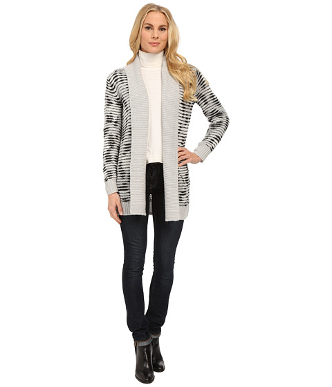NYDJ - Animal Print Drop Needle Cardigan (Light Heather Grey Multi) Women's Sweater