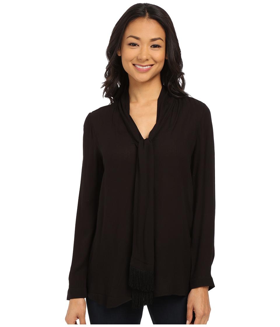 NYDJ - Tie-Front Blouse (Black 2) Women