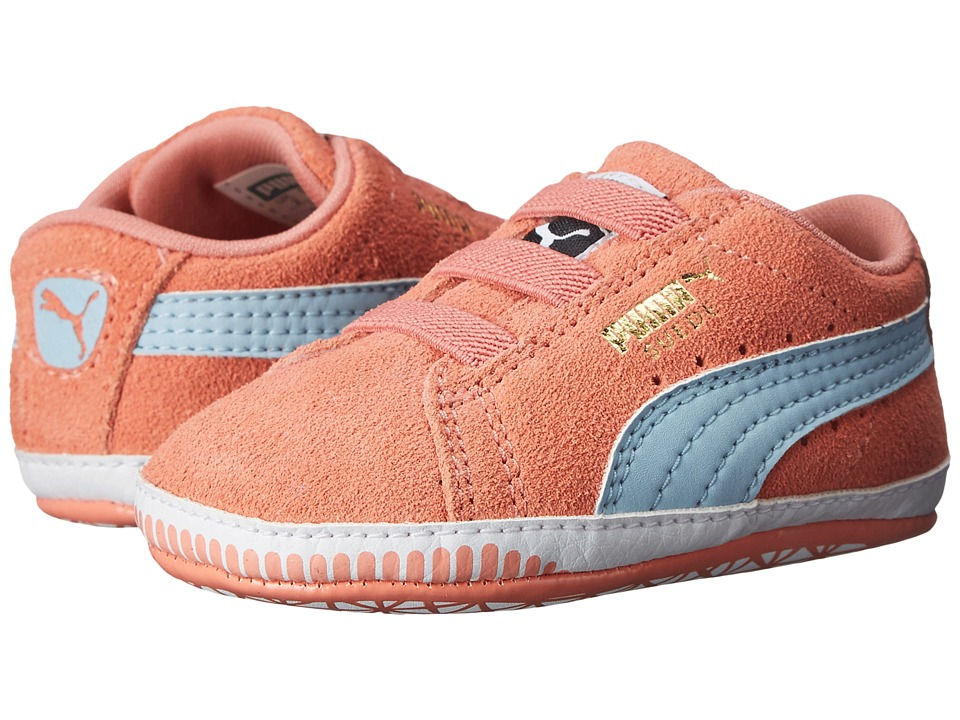 Puma Kids - Suede Crib (Infant/Toddler) (Desert Flower/Cool Blue) Girl's Shoes