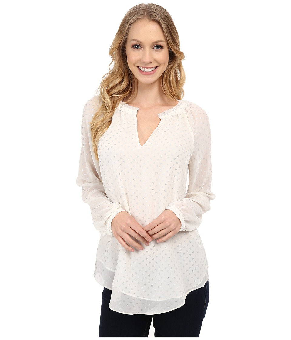 NYDJ - Foil Print Dots Blouse (Winter White) Women's Clothing
