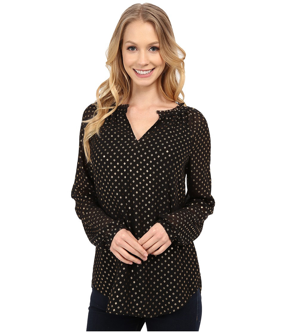 NYDJ - Foil Print Dots Blouse (Black) Women's Clothing