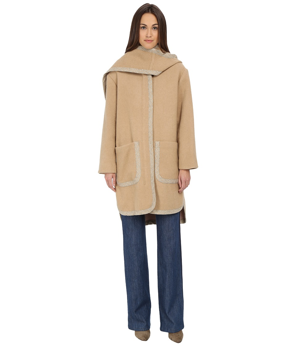 See by Chloe - Double Face Hood Coat (Camel/Pink) Women's Coat