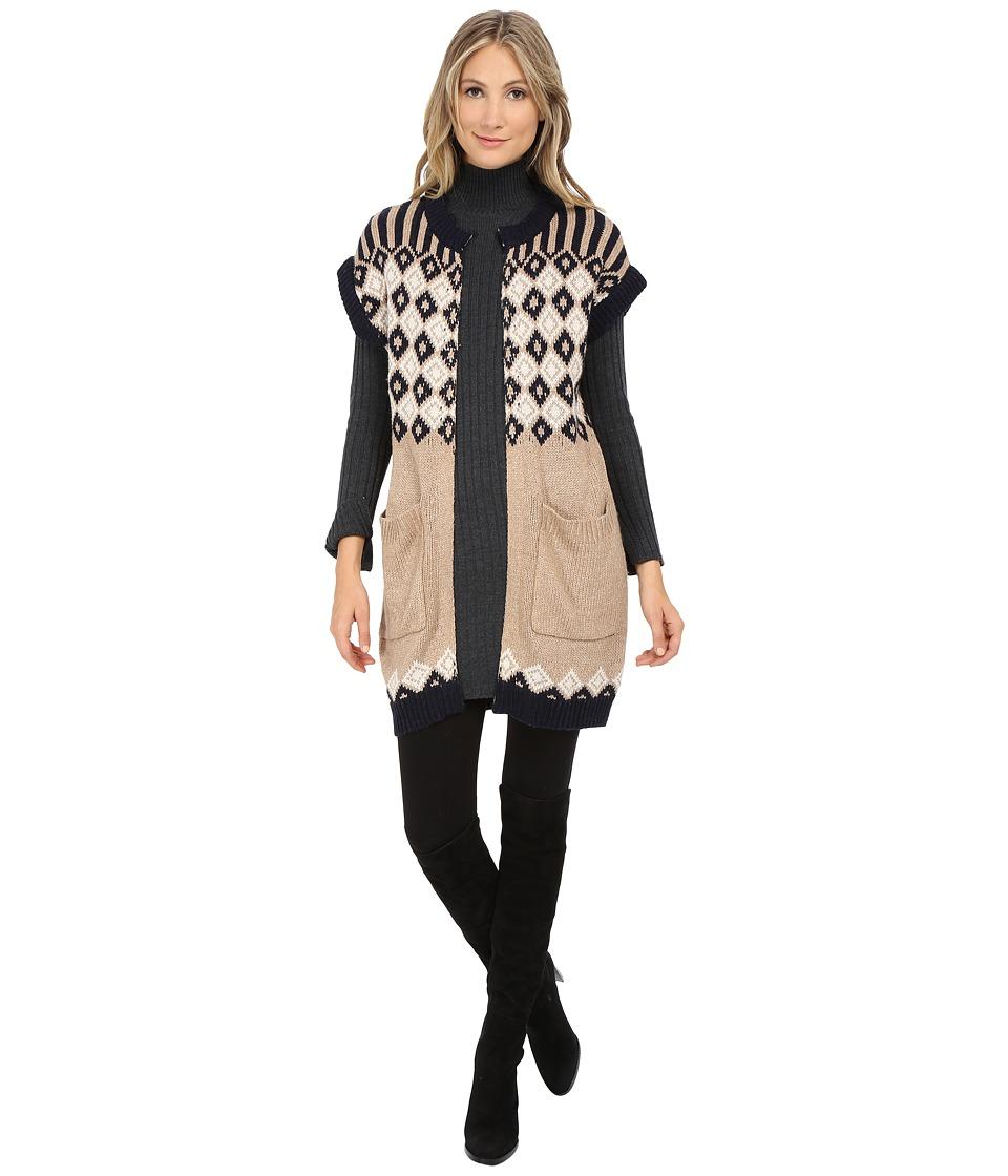 See by Chloe - Jacquard Argyle Vest (Navy/Camel) Women's Vest