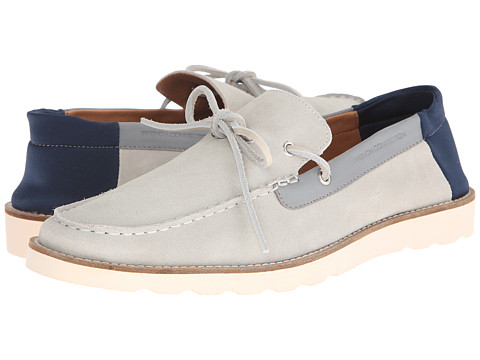 French Connection - Calsin (Ice Grey Washed Suede) Men's Slip on Shoes