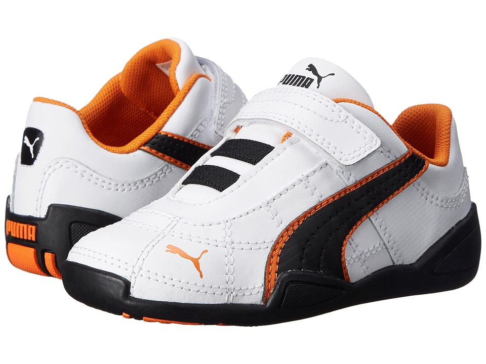 Puma Kids - Tune Cat B 2 V (Toddler/Little Kid/Big Kid) (White/Black/Vibrant Orange) Boy's Shoes