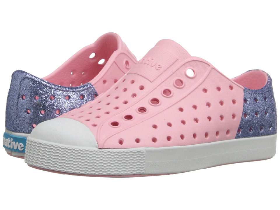 Native Kids Shoes - Jefferson Glitter (Toddler/Little Kid) (Princess Pink/Jellyfish Purple Glitter) Girl's Shoes