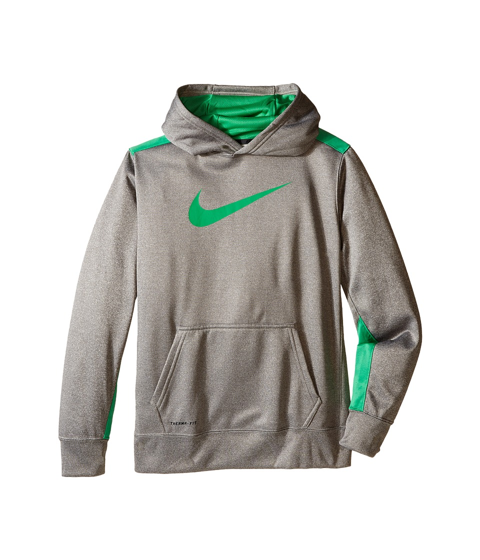 Nike Kids - KO 3.0 Pullover Training Hoodie (Little Kids/Big Kids) (Dark Grey Heather/Spring Leaf) Boy's Sweatshirt