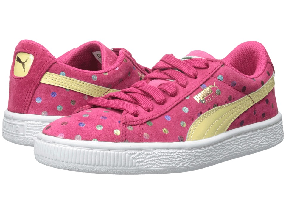 Puma Kids - Suede Dotfetti Jr (Little Kid/Big Kid) (Rose Red/Mellow Yellow) Girls Shoes