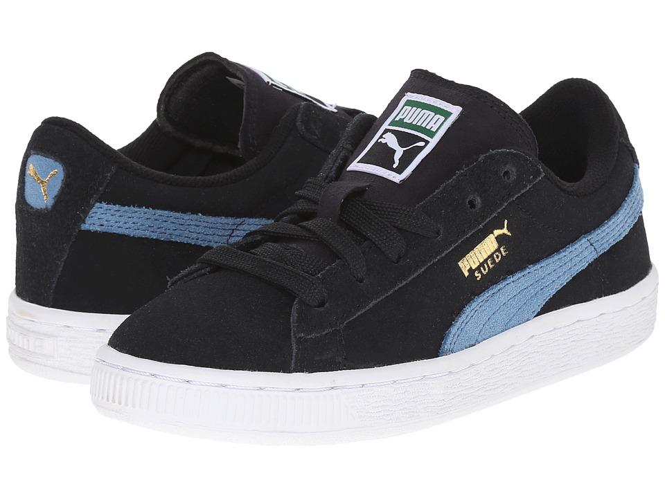 Puma Kids - Suede Jr (Little Kid/Big Kid) (Black/Blue Heaven) Kids Shoes