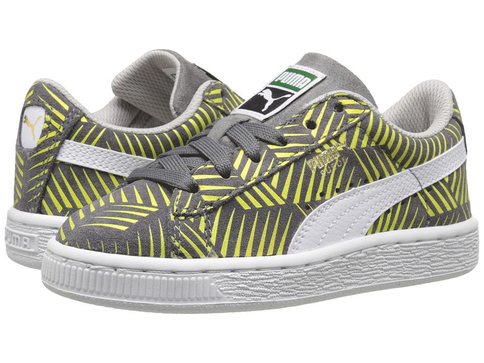 Puma Kids - Suede Geofetti Jr (Little Kid/Big Kid) (Steel Gray/Lime Punch/White) Girls Shoes