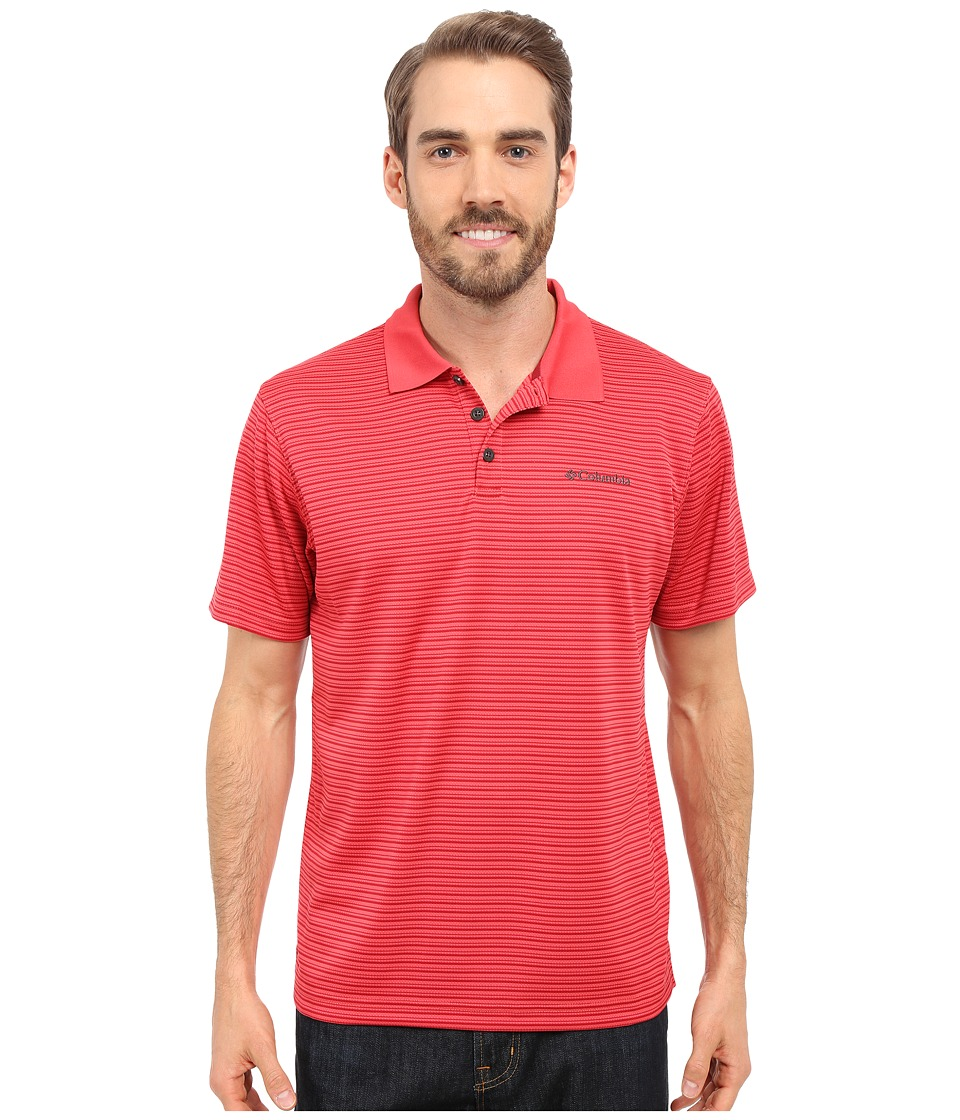 Columbia - Utilizer Stripe Polo III (Sunset Red) Men's Clothing