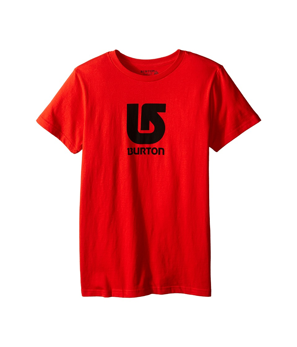 Burton Kids - Logo Vertical S/S Tee (Big Kids) (Red) Boy's Short Sleeve Pullover