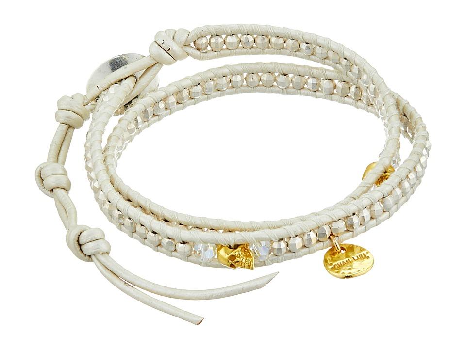 Chan Luu - 12 1/2' Silver/Pearl Double Wrap Skull Charm Bracelet (Silver/Pearl) Charms Bracelet