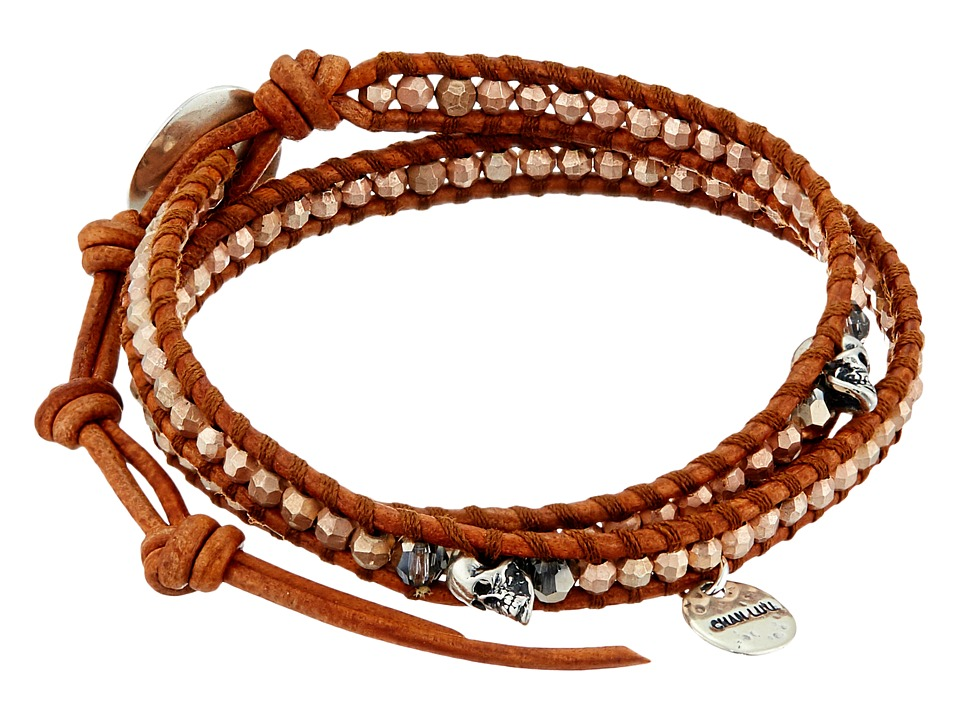 Chan Luu - 12 1/2' Rose Gold Double Wrap Skull Charm Bracelet (Rose Gold) Charms Bracelet