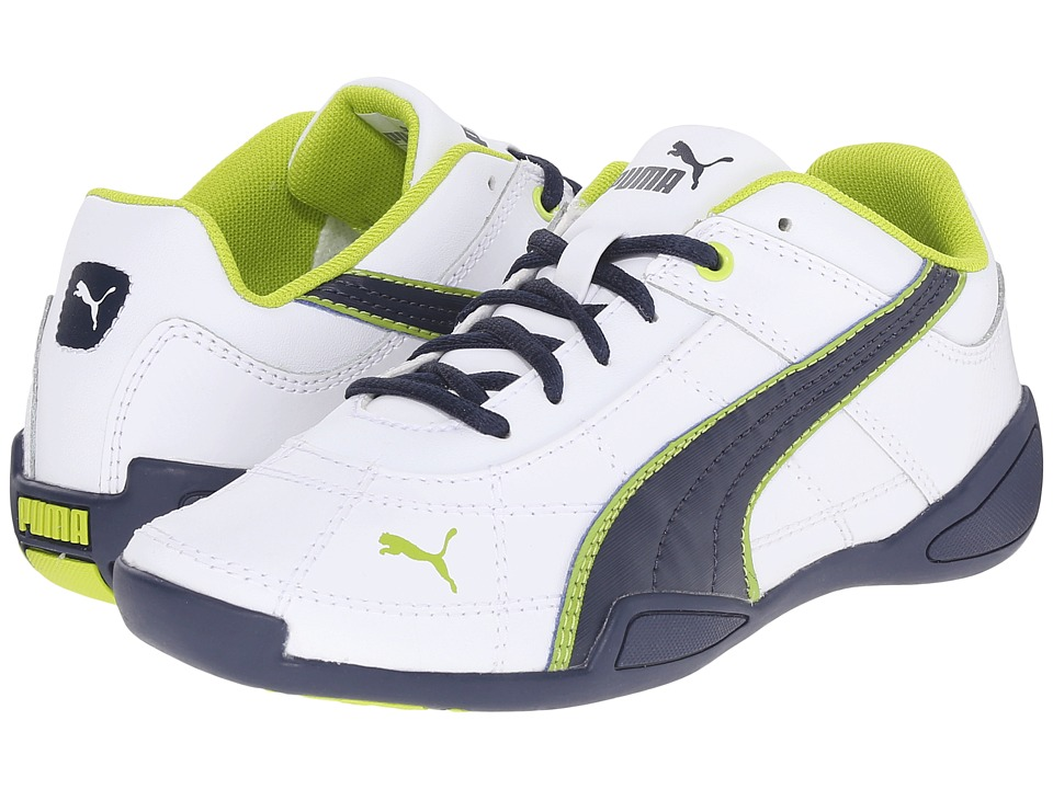 Puma Kids - Tune Cat B 2 Jr (Little Kid/Big Kid) (White/Peacoat/Lime Punch) Boys Shoes