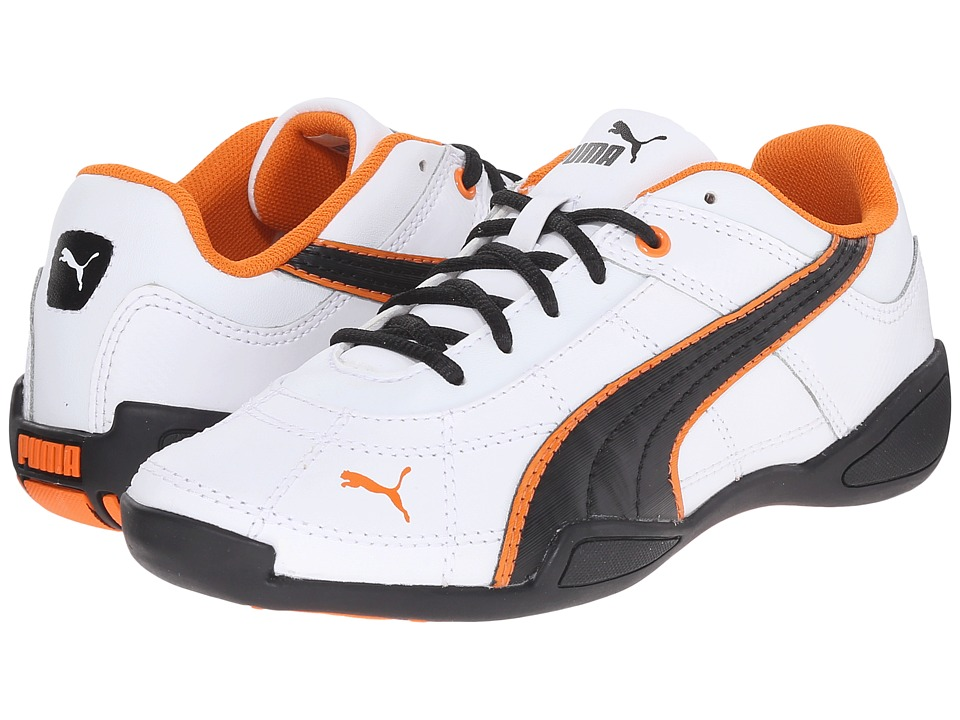 Puma Kids - Tune Cat B 2 Jr (Little Kid/Big Kid) (White/Black/Vibrant Orange) Boys Shoes