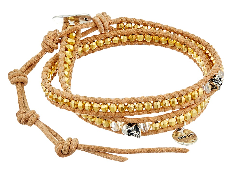 Chan Luu - 12 1/2' Yellow Gold/Beige Double Wrap Skull Charm Bracelet (Yellow Gold/Beige) Charms Bracelet