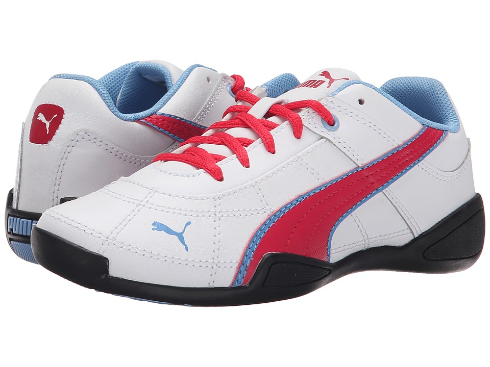 Puma Kids - Tune Cat B 2 Jr (Little Kid/Big Kid) (White/Rose Red/Little Boy Blue) Girl's Shoes