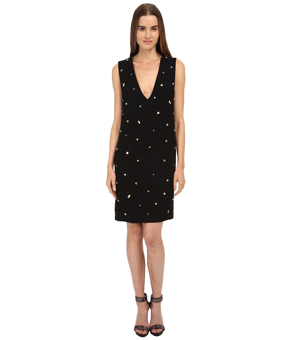 McQ - Studded V-Neck Dress (Black) Women's Dress