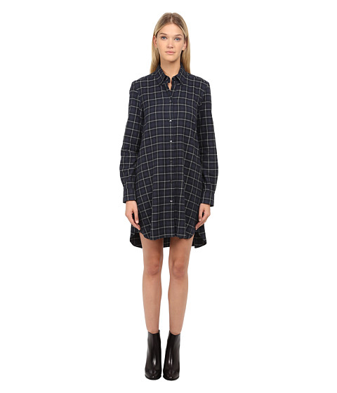 McQ - Long Sleeve Volume Shirt Dress (Navy) Women