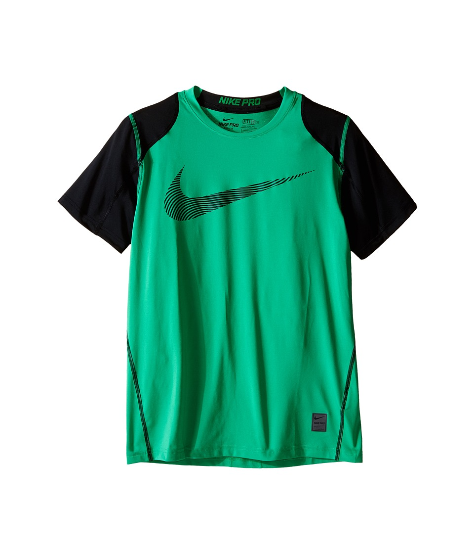 Nike Kids - Hypercool Fitted GFX Short Sleeve (Little Kids/Big Kids) (Spring Leaf/Black/Black) Boy's Clothing