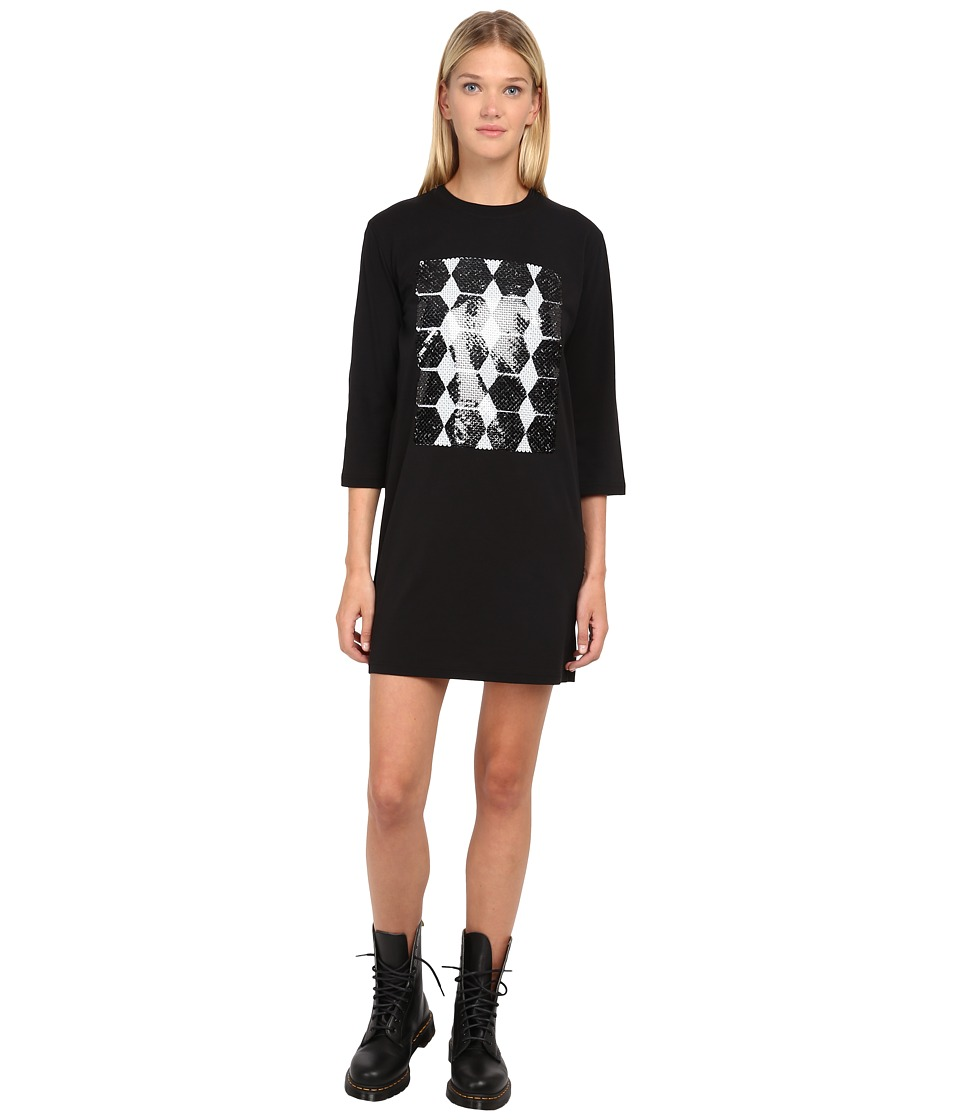 McQ - 1/2 Sleeve Box Dress (Darkest Black) Women's Dress