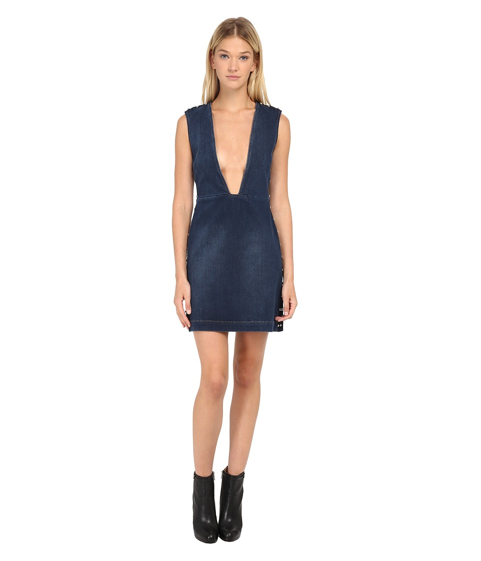 McQ - V-Neck Dress (Studded Vintage Wash) Women's Dress
